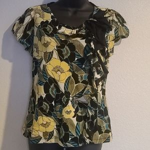 East 5th Petite Yellow Floral Ruffle Front Blouse